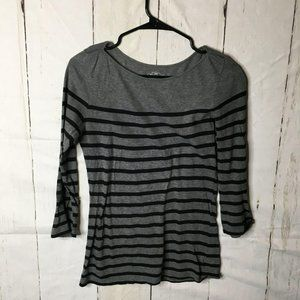 Old Navy Womens Top Round Neck 3/4 Sleeve Gray XS